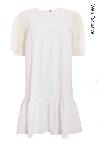 White Mesh Puff Sleeve Smock Dress